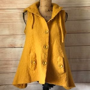 FOR CYNTHIA Boiled Wool Hooded Vest Cape L